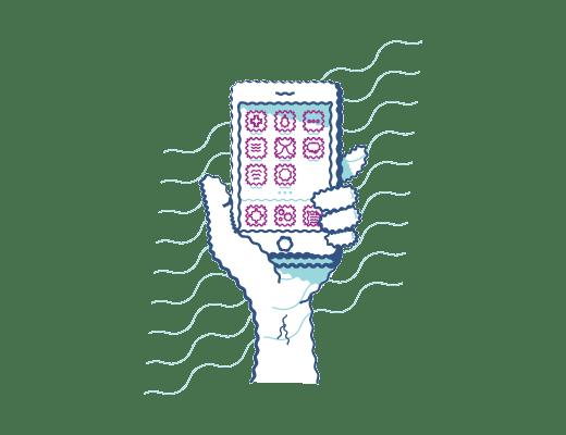 Ejemplo de visión a teléfono móvil con visión distorsionada cuando se lleva lentillas para astigmatismo.