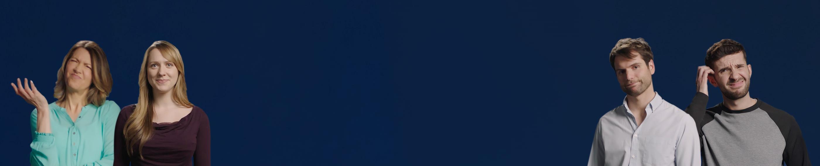 Un fondo azul con una selección de personas que se ven confundidas o preocupadas por probar lentillas.