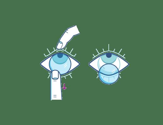 Quitate tus lentillas usando el dedo índice para extraerla