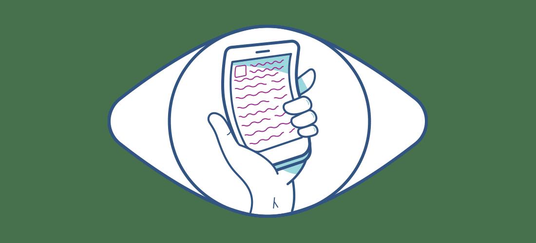 Ilustración de un teléfono móvil distorsionado visto a través de un ojo sin lentillas