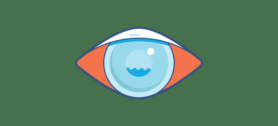 Ilustración de un ojo rojo con visión borrosa sin lentillas